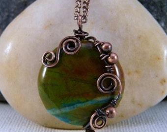 Wire Wrapped Jasper Pendant Necklace, Copper. Green, blue, rust.