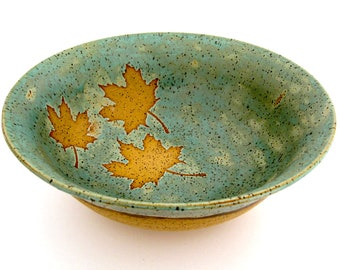 Ceramic Bowl - Maple Leaves -  Decorative Bowl - Serving Bowl - Handmade Stoneware Pottery