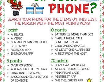 What's On Your Phone? Christmas Theme Game