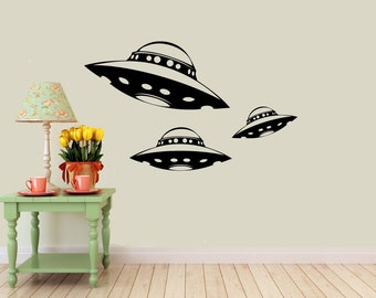 3 Alien Spaceship vinyl Wall DECALS- ufo interior design, sticker art, room, home and business decor