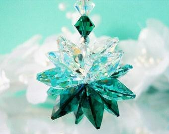 Crystal Suncatcher Car Charm Emerald Green Swarovski Crystal Car Accessories