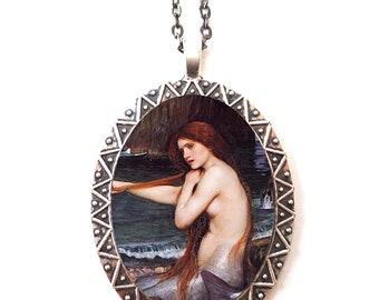 John William Waterhouse Necklace Pendant Silver Tone - Mermaid Mermaids Siren Nautical Fine Art