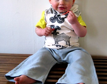 wide leg trousers baby pants - strand grey blue - unisex boy/girl
