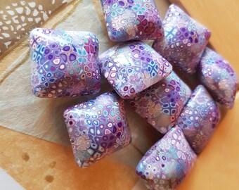 Polymer Clay Pillow Beads Midnight Garden Set of Nine