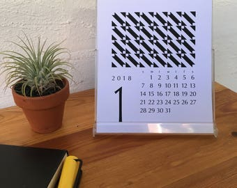 2018 Geometric Desk Calendar with Stand, Also Fits Jewel Case CD - Printable PDF, Instant Download