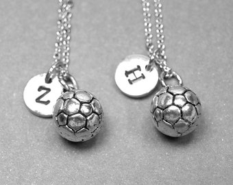 Best friend necklace, soccer necklace, soccer ball charm, soccer team gift, sports necklace, bff necklace, personalized necklace, initial