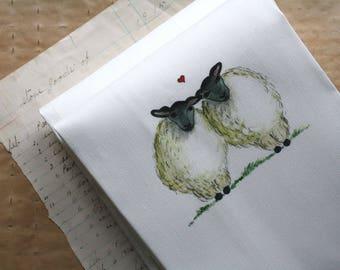 LAST ONE! Sheep Ewes in Love Tea Towel Kitchen Towel Linen and Cotton Watercolor Prints Sandbox Original Dish Towel Dishtowel