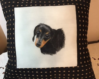 Dachshund Pillow  hand painted