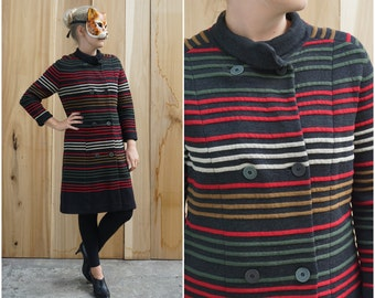 Vintage 60's Long Thick Knit Striped Sweater Jacket by MIRSA   Medium Large
