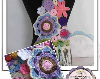 Scrapalicious Crochet Flower Scarf - PDF Instant Digital Download Crochet Pattern