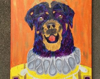 Original Rottweiler Dog Elizabethan Renaissance Ruff Acrylic 16x20 20x16