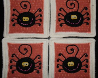Primitive Whimsical Halloween SILLY SPIDERS Coasters Mug Mats Hot Pads Trivets