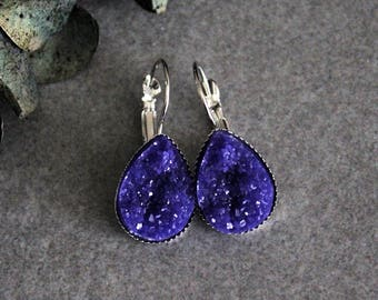 Purple Teardrop Earrings, Dark Purple Earrings, Purple Druzy Earrings, Purple Drop Earrings, Purple Dangle Earrings, Dark Purple Druzy