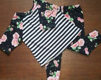 Girls Floral Raglan Tshirt Legging Set, Spring Tshirt,Floral Leggings, Girls Leggings,baby clothing.