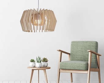wood pendant light- modern plywood pendant light - wooden hanging chandelier - contemporary lighting - dining lamp Equi
