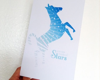 Printable Card Stars & Ombre Zebra, You Are Made of Stars, Blue, White, Purple, Inspiration for Graduate, Pen Pal, or Her