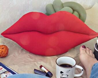 Lips pillow, lips cushion, kiss pillow, love pillow, girly pillow, designer pillow, decorative pillow, hot lips, sofa pillows, red lips