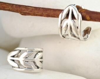 Laurel Wreath Solid Sterling Silver Huggie Earrings