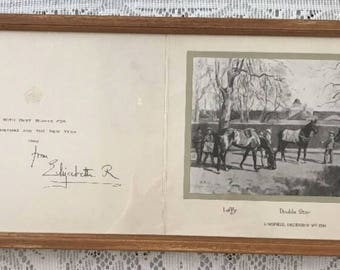 Queen Elizabeth Queen Mother Signed Christmas Card Framed 1962