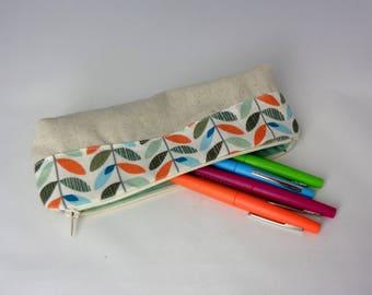 Trousse à stylos en coton inspiration vintage