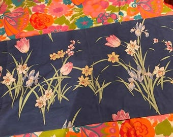 navy king pillowcase with tulips, irises and daffodils - vintage flower power shabby chic