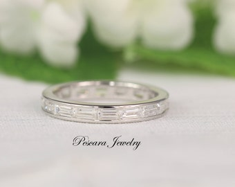 1.75ct tw Baguette Wedding Band Ring, Full Eternity Band, Anniversary Ring, Stackable Band, Stacking Band, Sterling Silver