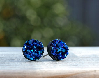 Faux Druzy Earrings - Blue, Teal and Black Chunky Studs, Titanium or Stainless Steel Posts