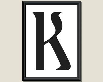 Typography Digital Print Monogram Initial Wall Art Ariosto Letter K
