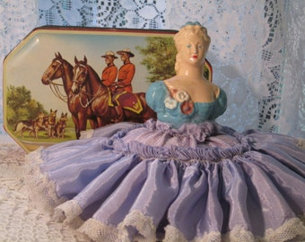 Half Doll Pin Cushion Vintage Chalkware Satin & Lace Skirt George W Horner Candy Tin Holds Vintage Buttons - PRICE REDUCED