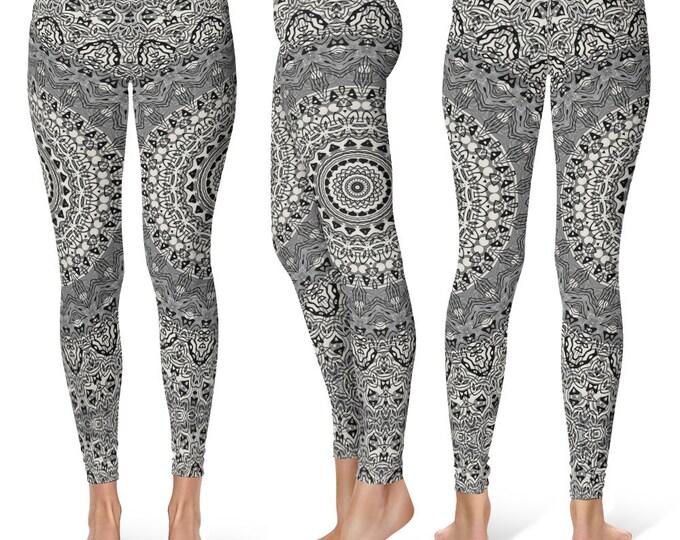 Gray Leggings Yoga Pants, Printed Yoga Tights for Women, Festival Clothing, Burning Man