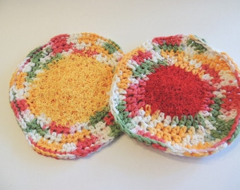 Dish Cloth, Set of 4 scrubbers,  Crochet Dish Cloths, Crochet Scrubbers Wash Cloths
