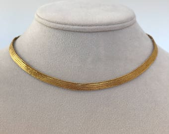 Indian Solid 21k Yellow Gold Flat Snake Mesh 5 mm Choker Necklace, 21k Yellow Gold Flat Chain Choker Necklace, High Karat Gold Jewelry