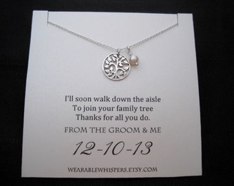 Mother of The Groom Necklace - Mother of the Groom Gifts, Family Tree, Wedding Gifts, Wedding Jewelry,  Mother of the Groom Presents, Silver