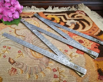 Antique folding ruler in stainless steel and antique 1950s 1960s