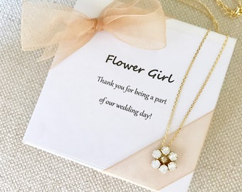 Flower Girl Necklace, White opal flower necklace, junior bridesmaid necklace, white opal and gold flower girl necklace, flower girl gift