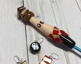 Hermione Granger Ergonomic crochet hook, Crochet hook, Handmade crochet hook, Polymer clay hook, crochet hook, Harry Potter