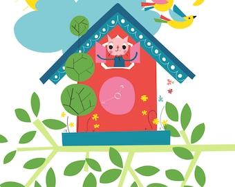 Cat Nursery Wall Art - going cuckoo - Animal Nursery Print, Baby Animal Print, Kids Wall Art, Cat Art, Home Decor, Wall Art decor