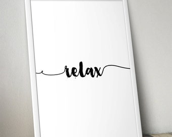 Relax - 13 Colours - Bedroom, living room poster - Typography Poster