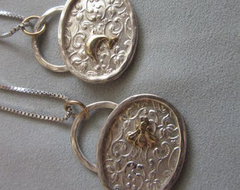 Filigree Pendant with Gold - Ladybug - Fly - Heart - Dolphine