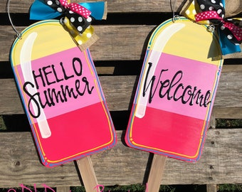 Popsicle door hanger with handlettering hello summer or personalized