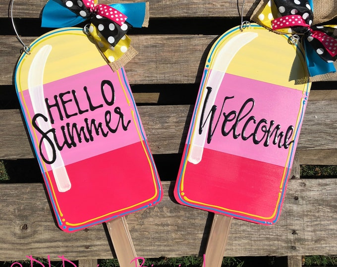 Popsicle door hanger with handlettering hello summer or personalized