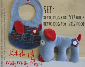 RETRO doggy soft toy & bib SET - 7x12 hoop needed - ITH - In The Hoop - Machine Embroidery Design File, digital download