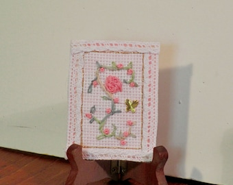 Hand embroidered ATC with pink rose and lace