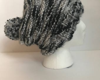 Slouchy Beanie (black, gray, white) with pompom