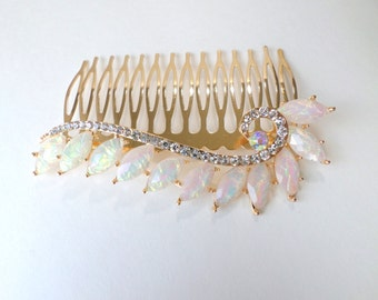 Opal Hair Comb Large Gold Crystal Opal Hair Comb Wide Opalite Hair Accessory Crystal Hair Accessory Decorative Hair Comb