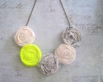 Rosette Statement Necklace,Rosette Necklace, Rosette Jewelry,Book Jewelry, Book Print Necklace,Fabric Jewelry,Textile Jewelry,Unique Jewelry