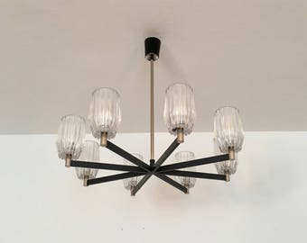 Big and beautiful mid-century modernist ice glass chandelier | 1960 's ·