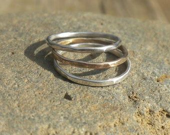 Slim Stacking Ring Set in Sterling Silver and 14k Goldfilled, Hammered, Ring Set, Sterling, 14k Goldfilled