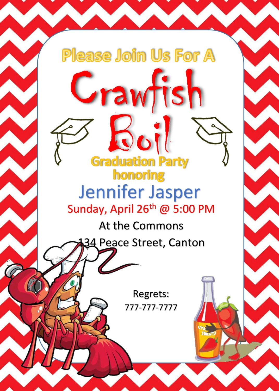 Crawfish Boil Invitation Graduation Party Invitation Red