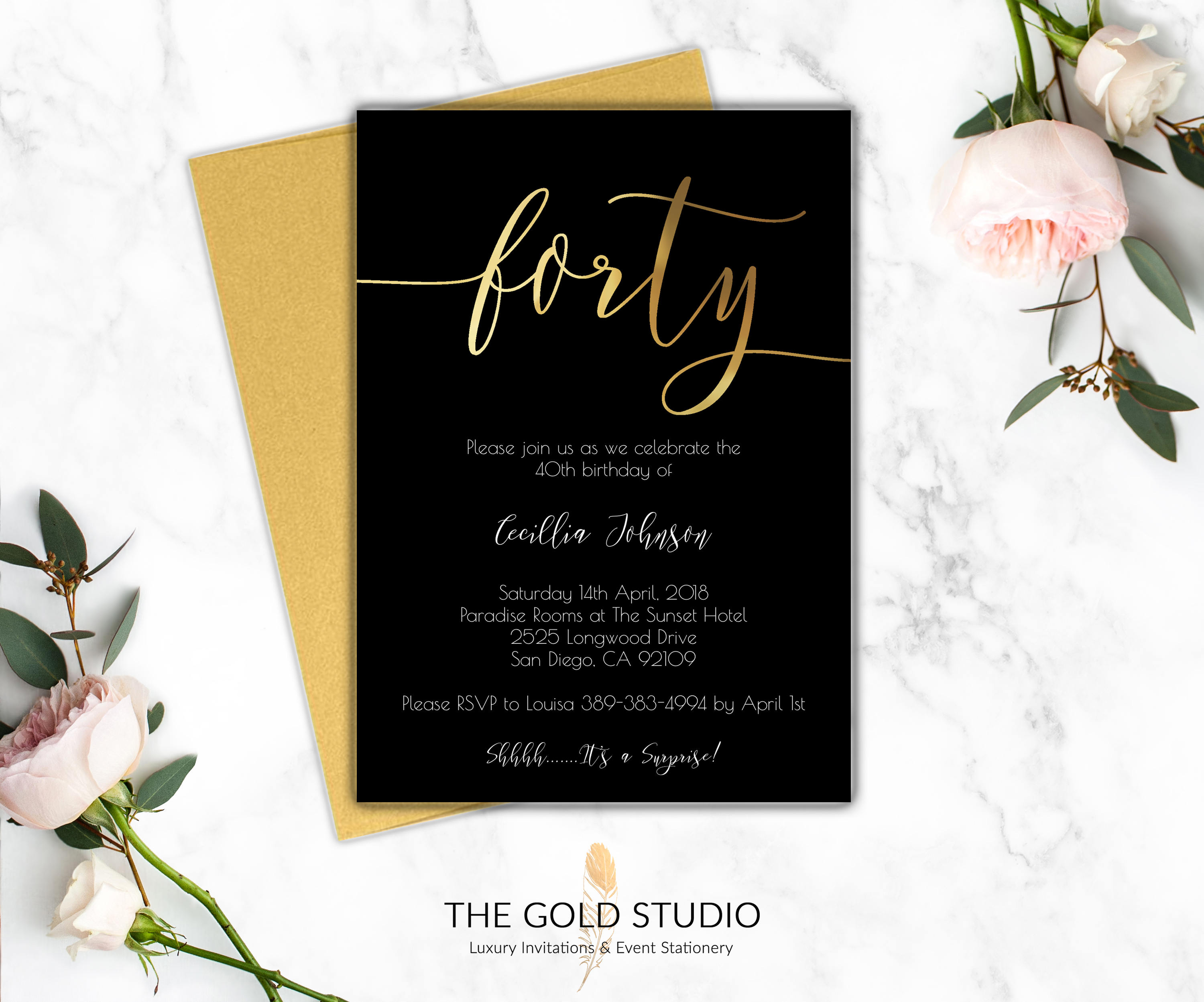 40th Birthday Party Printed Invitations Elegant Black Gold